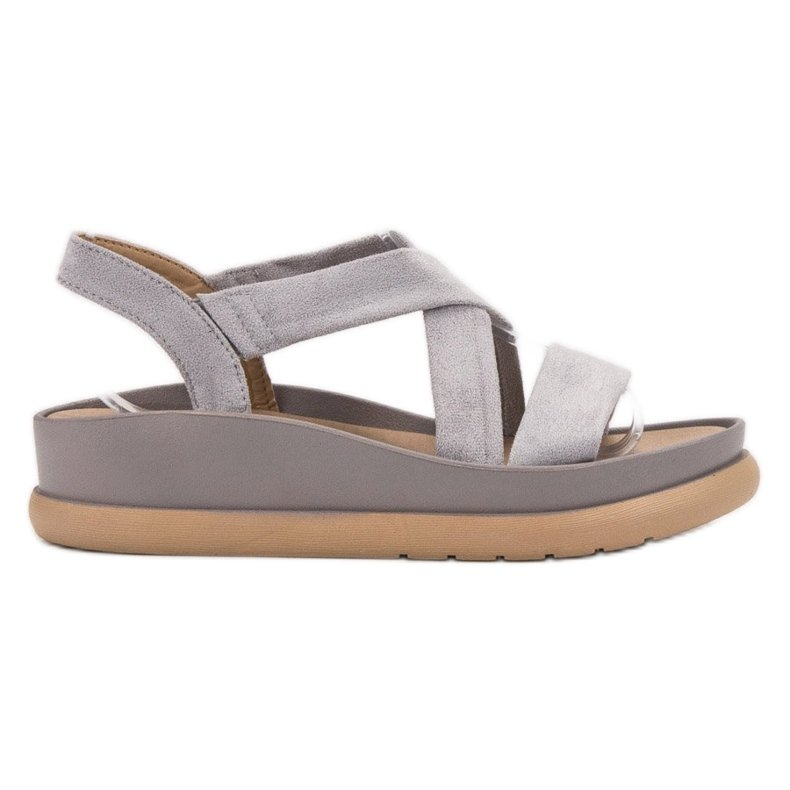 SHELOVET Wsuwane Sandały Na Platformie szare