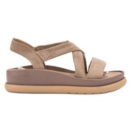 SHELOVET brązowe Wsuwane Sandały Na Platformie