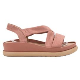 SHELOVET różowe Wsuwane Sandały Na Platformie