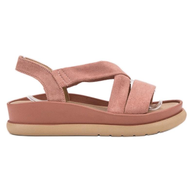SHELOVET Wsuwane Sandały Na Platformie różowe