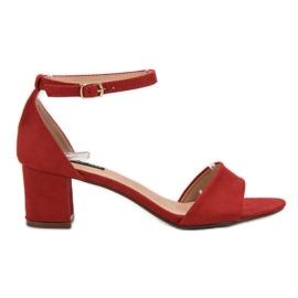Super Me Wygodne Sandałki Na Słupku czerwone