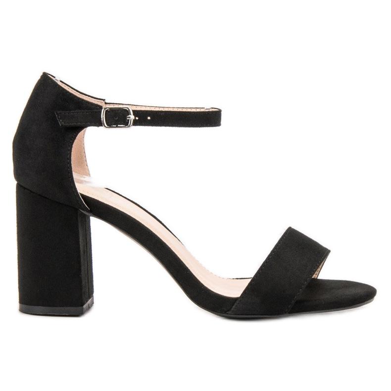 Diamantique Eleganckie Zamszowe Sandałki czarne