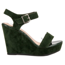 Vinceza zielone Zamszowe Sandały