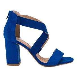 Niebieskie Chabrowe Sandały Na Suwak VINCEZA