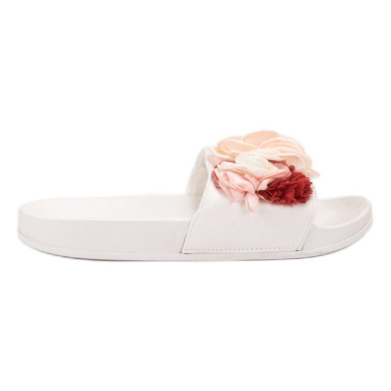 Anesia Paris Białe Klapki Z Kwiatami