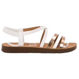Super Mode białe Modne Wsuwane Sandałki