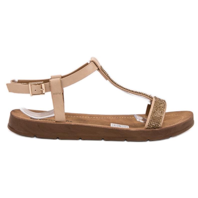 Forever Folie Sandały Z Cyrkoniami brązowe