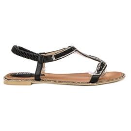 SHELOVET Zdobione Sandałki Z Gumką czarne