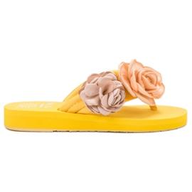 SHELOVET żółte Lekkie Japonki Z Kwiatami