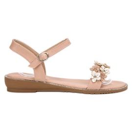 Forever Folie różowe Sandałki Z Kwiatami