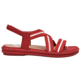 Seastar czerwone Wygodne Sandały Damskie