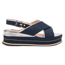 Lily Shoes Sandały Zapinane Sprzączką niebieskie
