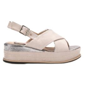 Lily Shoes brązowe Sandały Zapinane Sprzączką