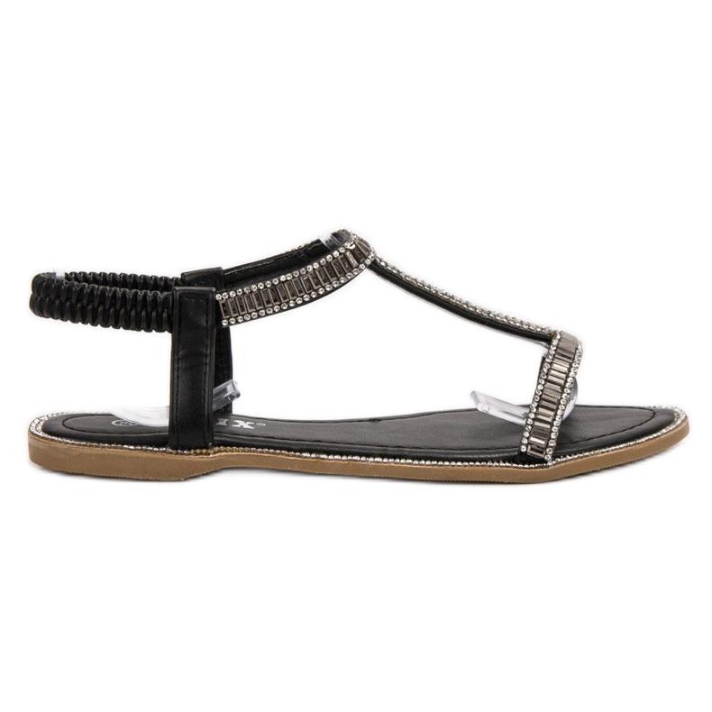 SHELOVET Płaskie Sandałki Z Kryształkami czarne