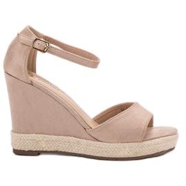 43206d73 Seastar brązowe Sandały Na Koturnie