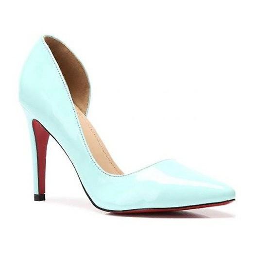 Lakierowane Eleganckie Szpilki A899 Blue niebieskie
