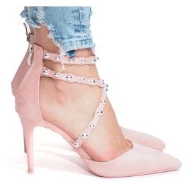 Różowe szpilki sandałki B-50