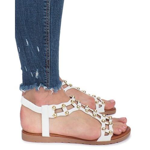 Białe płaskie sandały rzymianki Summer