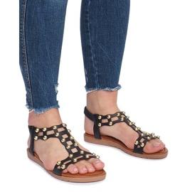 Czarne płaskie sandały rzymianki Summer