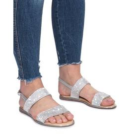 Srebrne płaskie sandały z diamentami Indulge szare