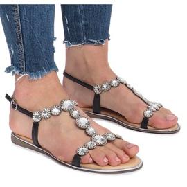Czarne płaskie sandały z diamentami Indulge