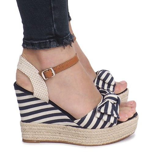 Marynarskie sandały na koturnie espadryle Blue Sea niebieskie