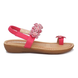 Różowe sandałki z kwiatkami Diamond Flower