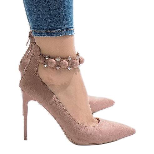 Różowe szpilki sandałki LE033P