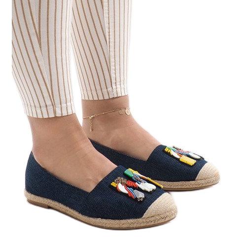 Granatowe espadryle trampki jeans H88-5