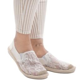 Białe espadryle trampki jeans LS701