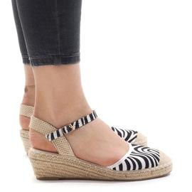 Zebra sandały na koturnie espadryle LLI-3M88-7