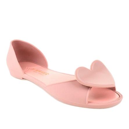 Różowe meliski balerinki gumowe z sercem KM121-24