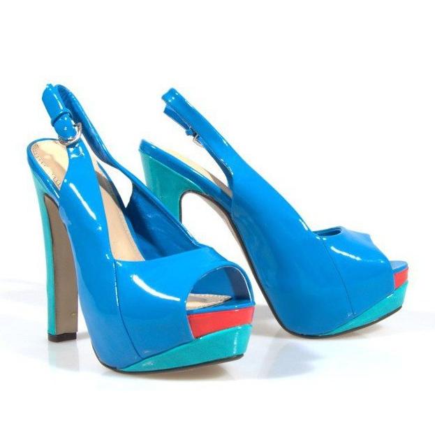 Czółenka Sandały Na Platformie A8030 Błękitny niebieskie