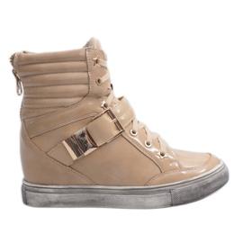 Modne Zdobione Złotem Sneakersy 7068 Beżowy brązowe