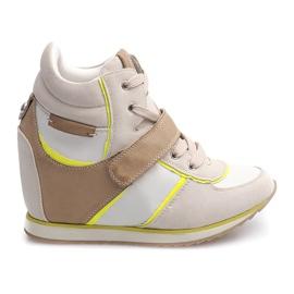 Modne Sneakersy Na Koturnie JT4 Beżowy