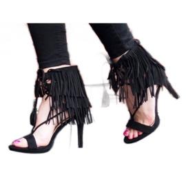 Sandały na szpilce z frędzlami Boho 8125 Czarny czarne