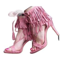Sandały na szpilce z frędzlami Boho 8125 Różowy różowe