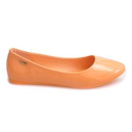 Pomarańczowe Lakierowane Balerinki 11037 Pomarańczowy