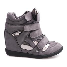 Sneakersy Na Koturnie Na Rzepe 6041 Szary szare