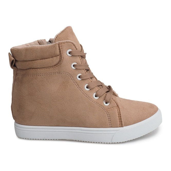 Sneakersy Na Koturnie TL089 Beżowy