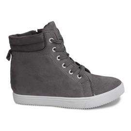Sneakersy Na Koturnie TL089 Szary szare