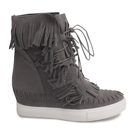 Sneakersy Na Koturnie Z Frędzlami Boho 7A1453 Szary szare
