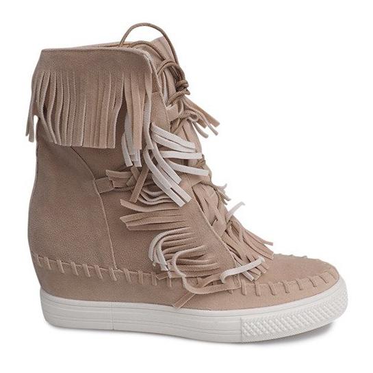 Sneakersy Na Koturnie Z Frędzlami Boho 7A1453 Beżowy
