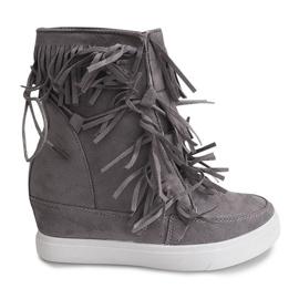 Szare Sneakersy Na Koturnie Z Frędzlami Boho 881-2 Szary