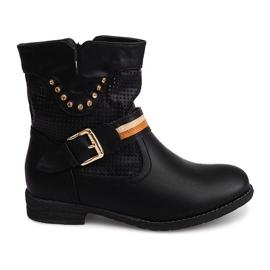 Ażurowe Botki Kowbojki HC230 Czarny czarne