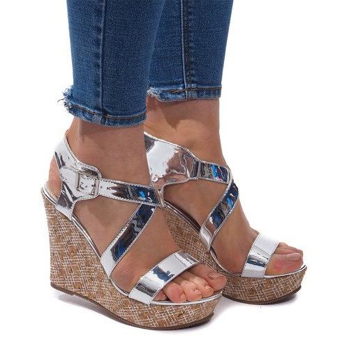 Sandały Na Koturnie S260 Srebrny szare
