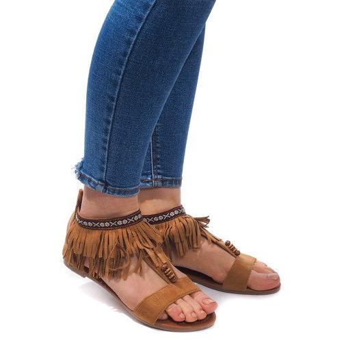 Zamszowe Sandały Boho 8-9 Camel brązowe