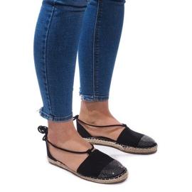 Czarne Sandały Espadryle Baletki Balerinki 6333 Czarny
