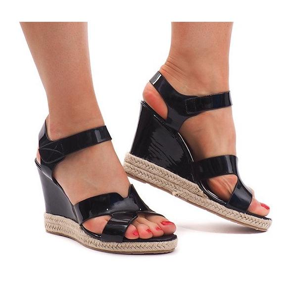 Sandały Na Koturnie 5H5670 Czarny czarne