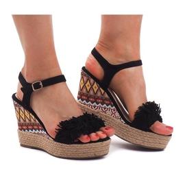 Sandały Na Koturnie Espadryle FY8288 Czarny czarne